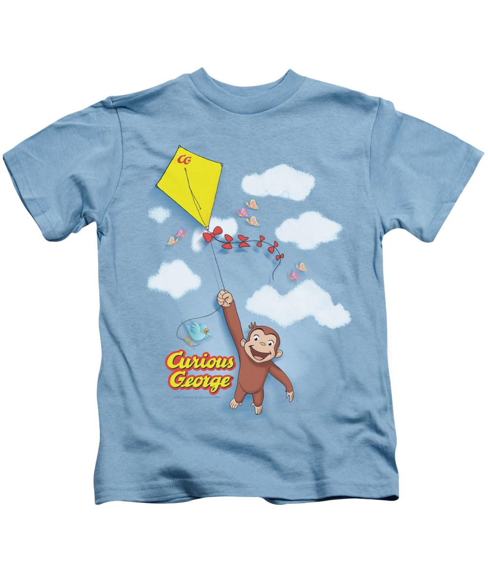 Curious George Kids T-Shirt featuring the digital art Curious George - Flight by Brand A