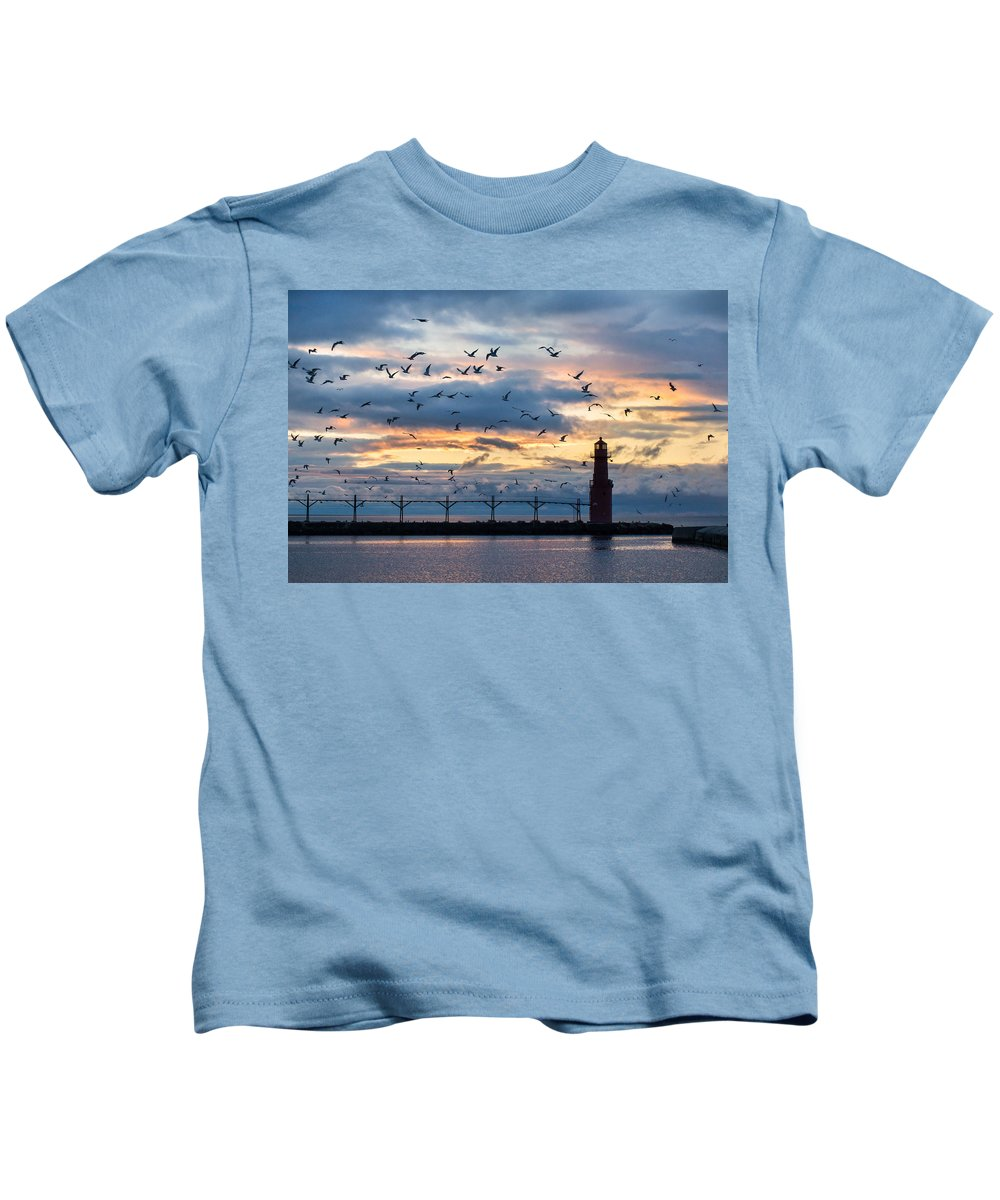 Lighthouse Kids T-Shirt featuring the photograph Dawn's Early Flight by Bill Pevlor