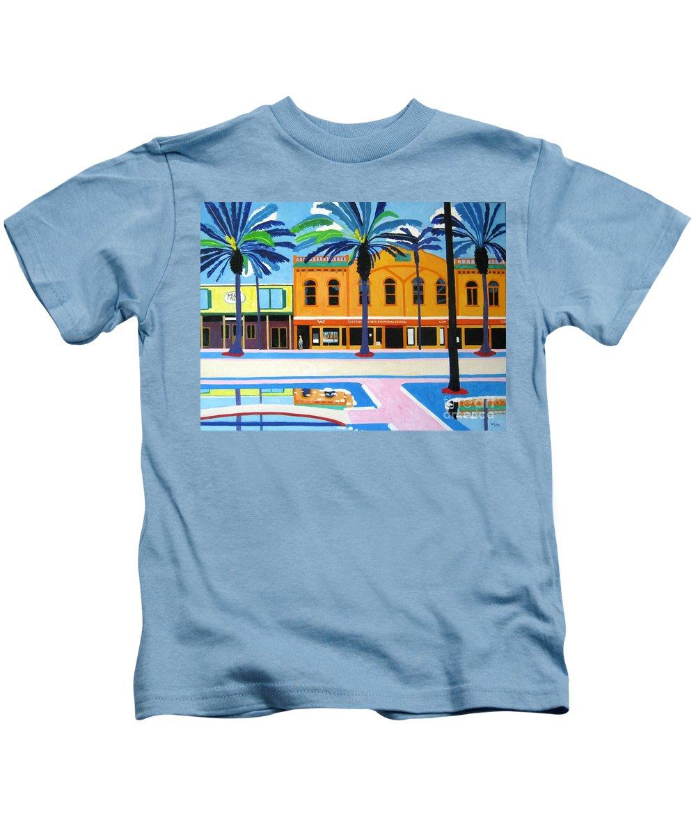 Irish Kids T-Shirt featuring the painting Mckays Irish Pub Daytona Florida by Lesley Giles