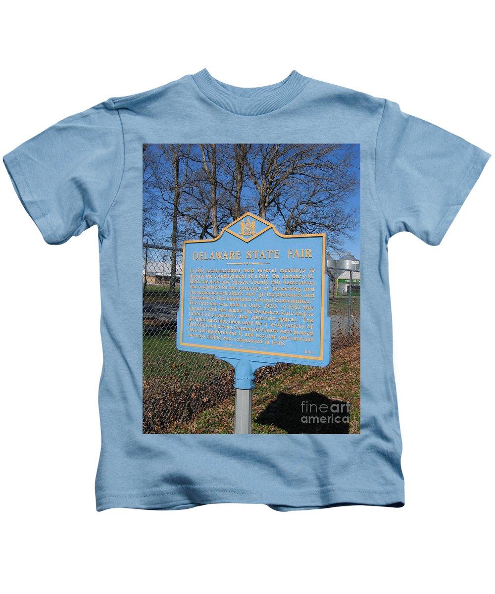 Historic Marker Kids T-Shirt featuring the photograph De-kc51 Delaware State Fair by Jason O Watson