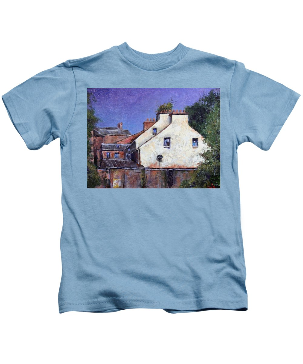 Irish Kids T-Shirt featuring the painting Derry Gables by Jim Gola
