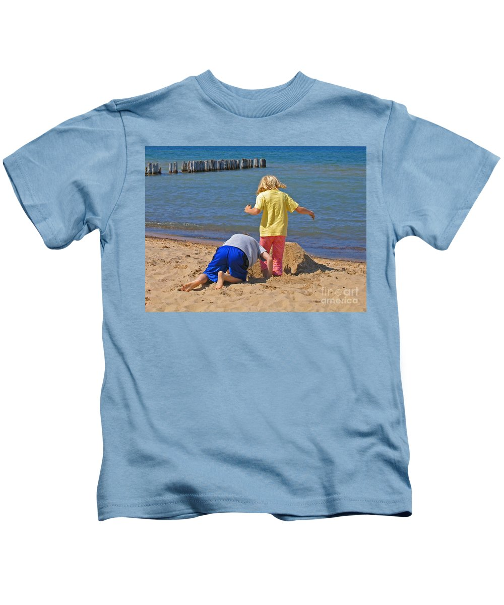 Summer Kids T-Shirt featuring the photograph Digging Deep by Ann Horn