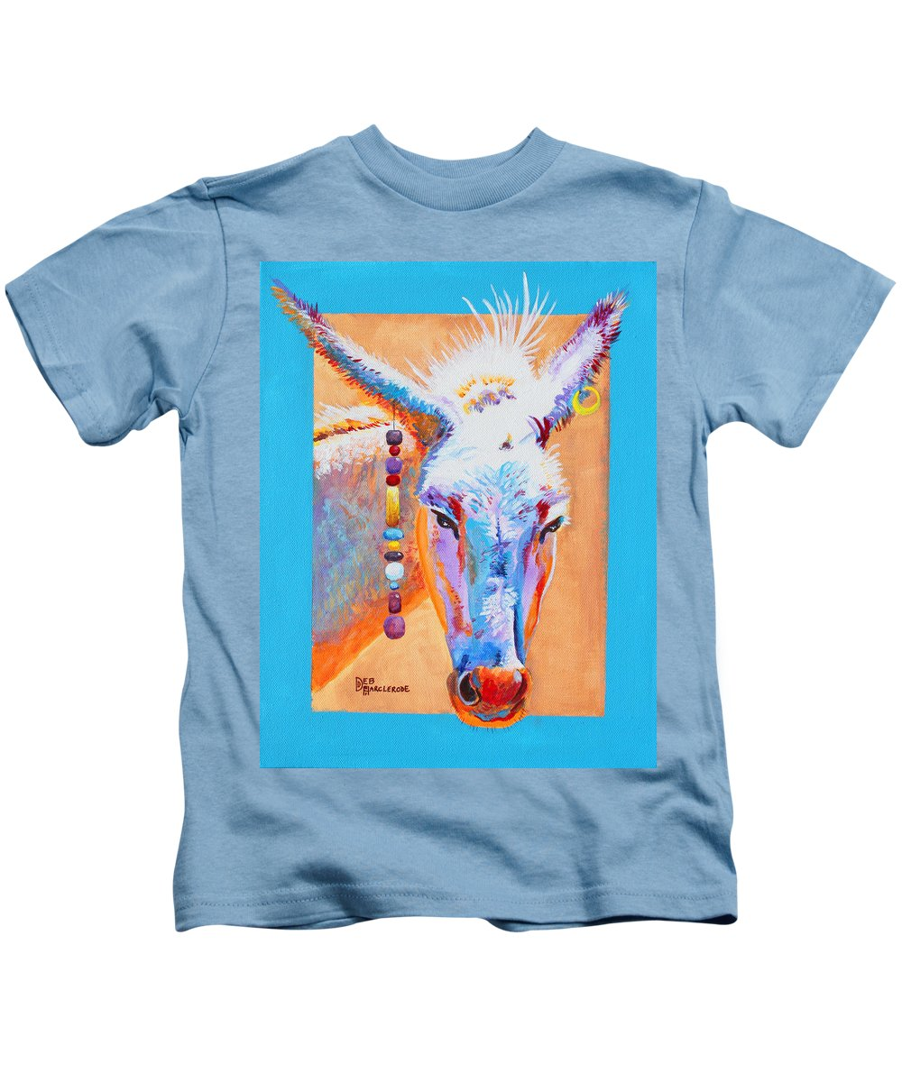 Donkey Kids T-Shirt featuring the painting Jack's Other Girl - Burro - Donkey by Deb Harclerode