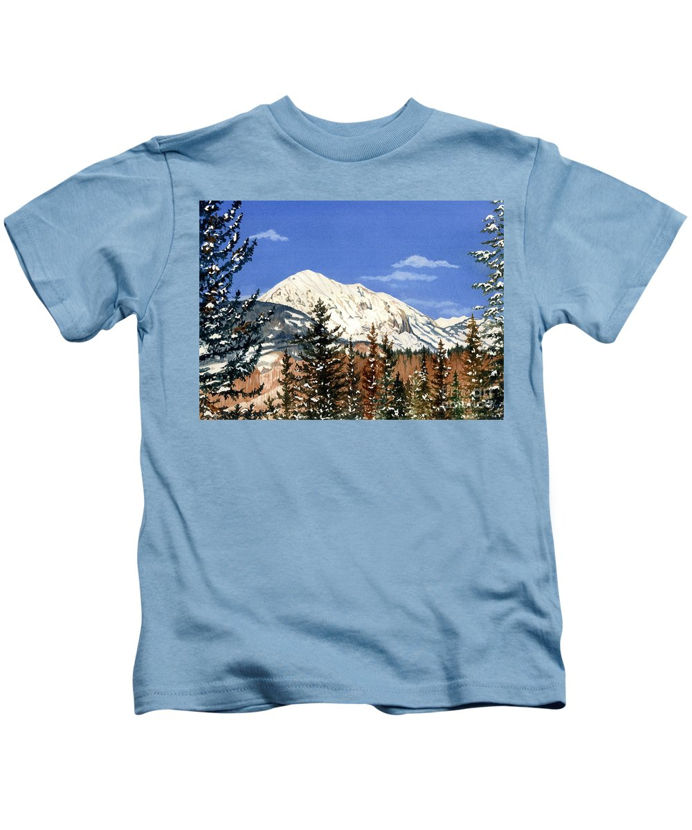 Water Color Paintings Kids T-Shirt featuring the painting Dressed For Winter by Barbara Jewell