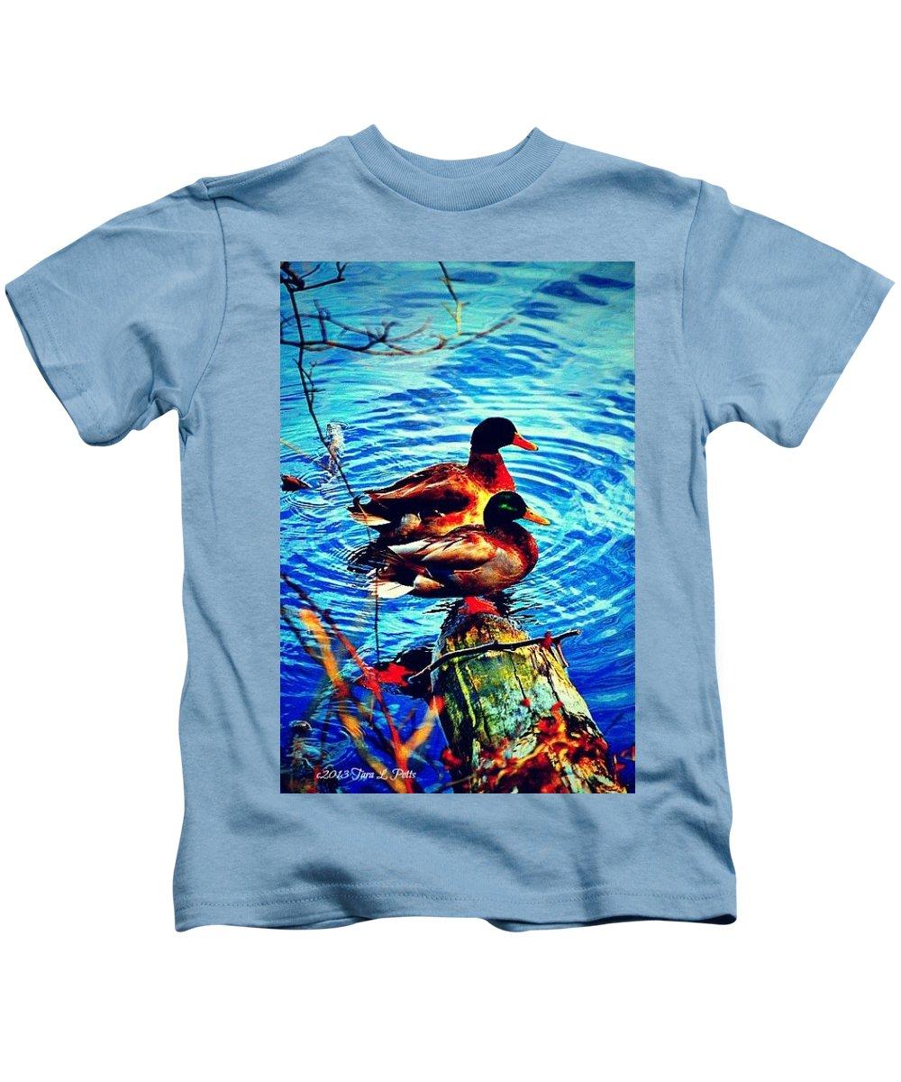 Ducks Kids T-Shirt featuring the photograph Ducks On A Log by Tara Potts