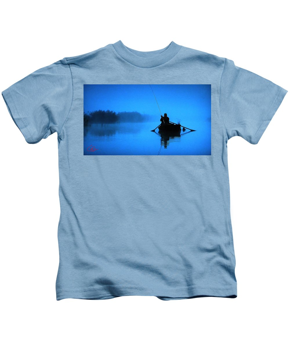 Colette Kids T-Shirt featuring the photograph Early Morning Fishing by Colette V Hera Guggenheim