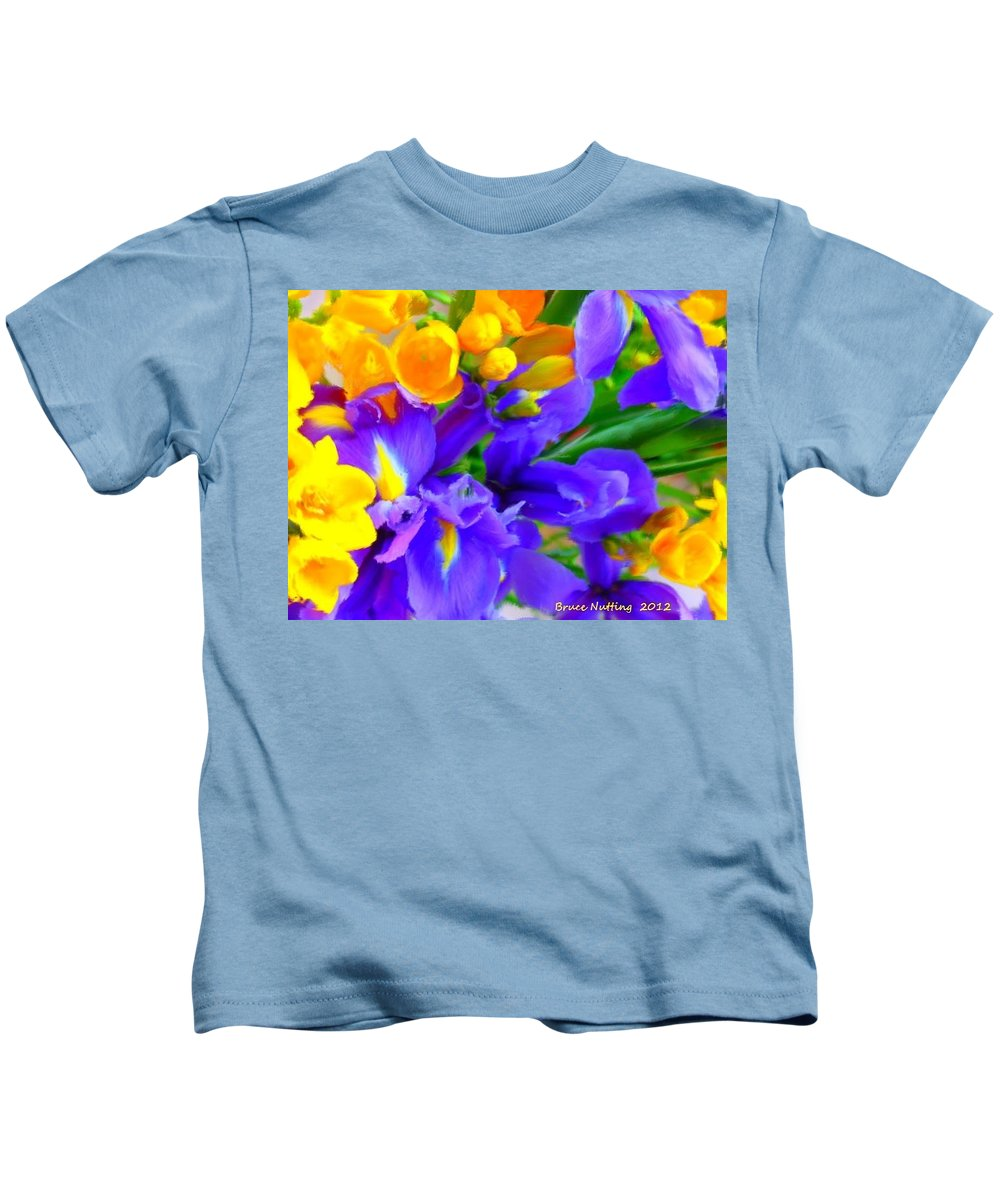 Yellow Kids T-Shirt featuring the painting Easter Flowers by Bruce Nutting