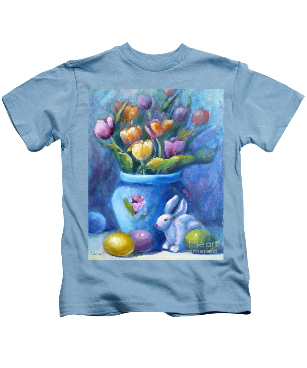 Easter Kids T-Shirt featuring the painting Easter Still Life by Carolyn Jarvis