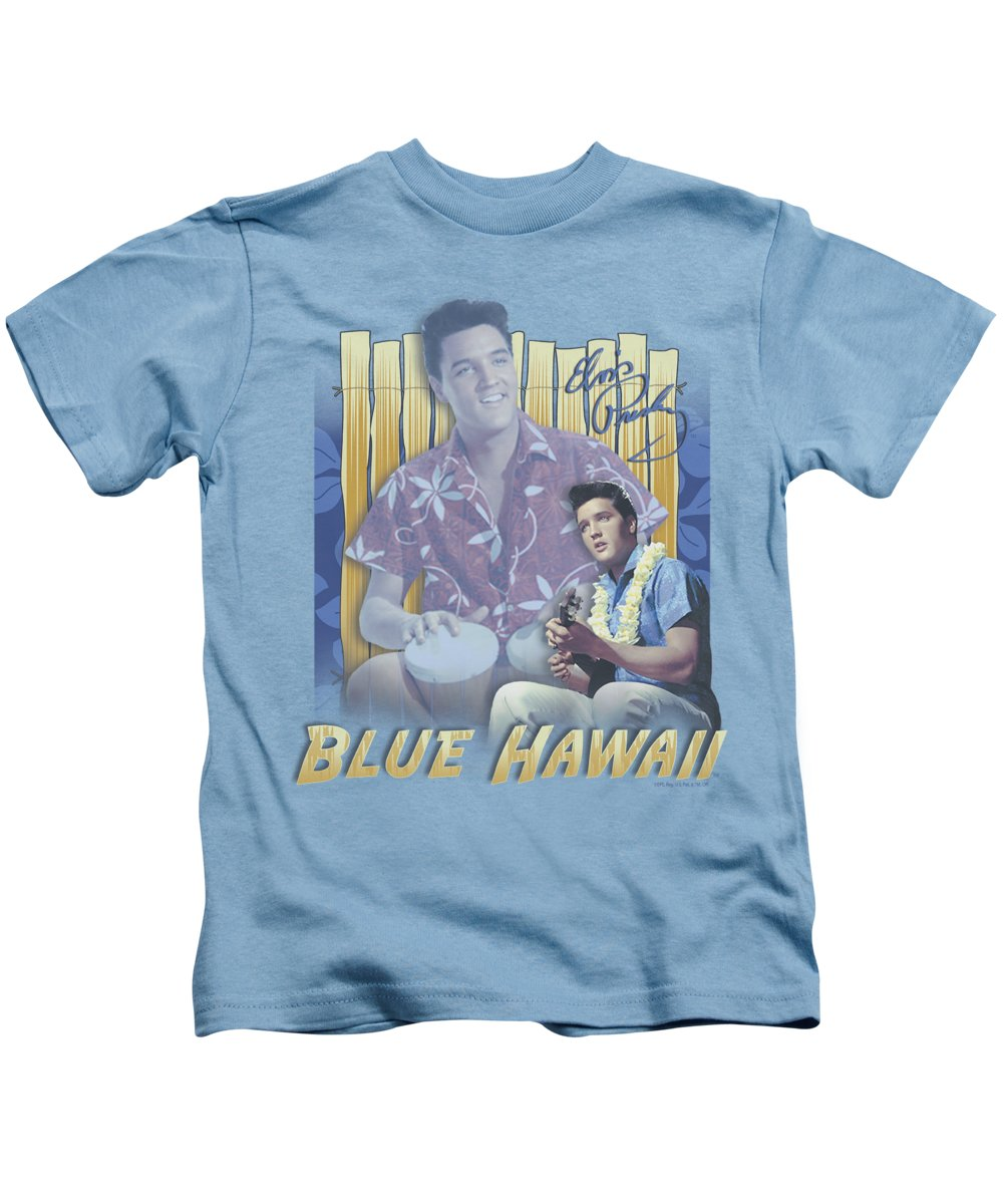 Elvis Kids T-Shirt featuring the digital art Elvis - Blue Hawaii by Brand A