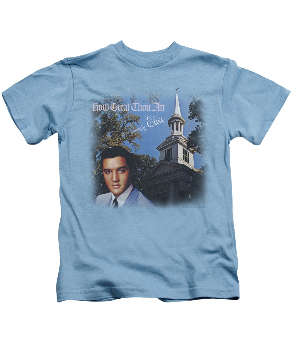 Elvis Kids T-Shirt featuring the digital art Elvis - How Great Thou Art by Brand A