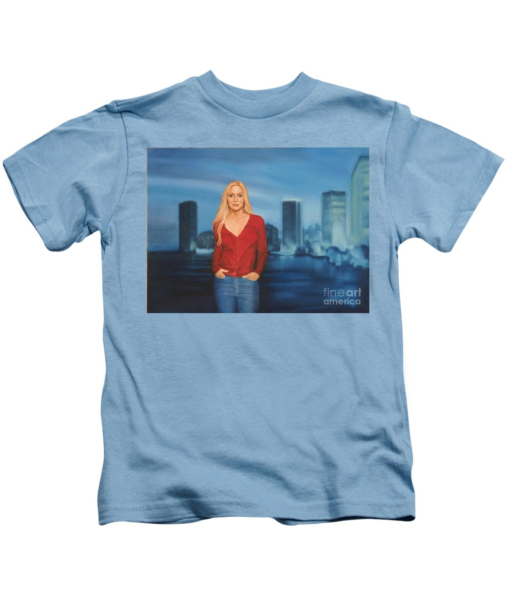 Seascape Kids T-Shirt featuring the painting Emily Miami Skyline by Guy C Lockwood