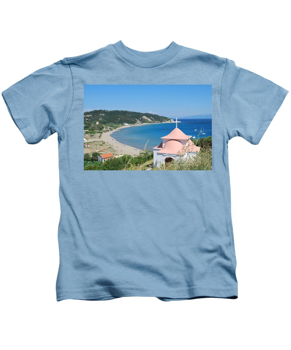 Erikousa Beach Kids T-Shirt featuring the photograph Erikousa Beach by George Katechis