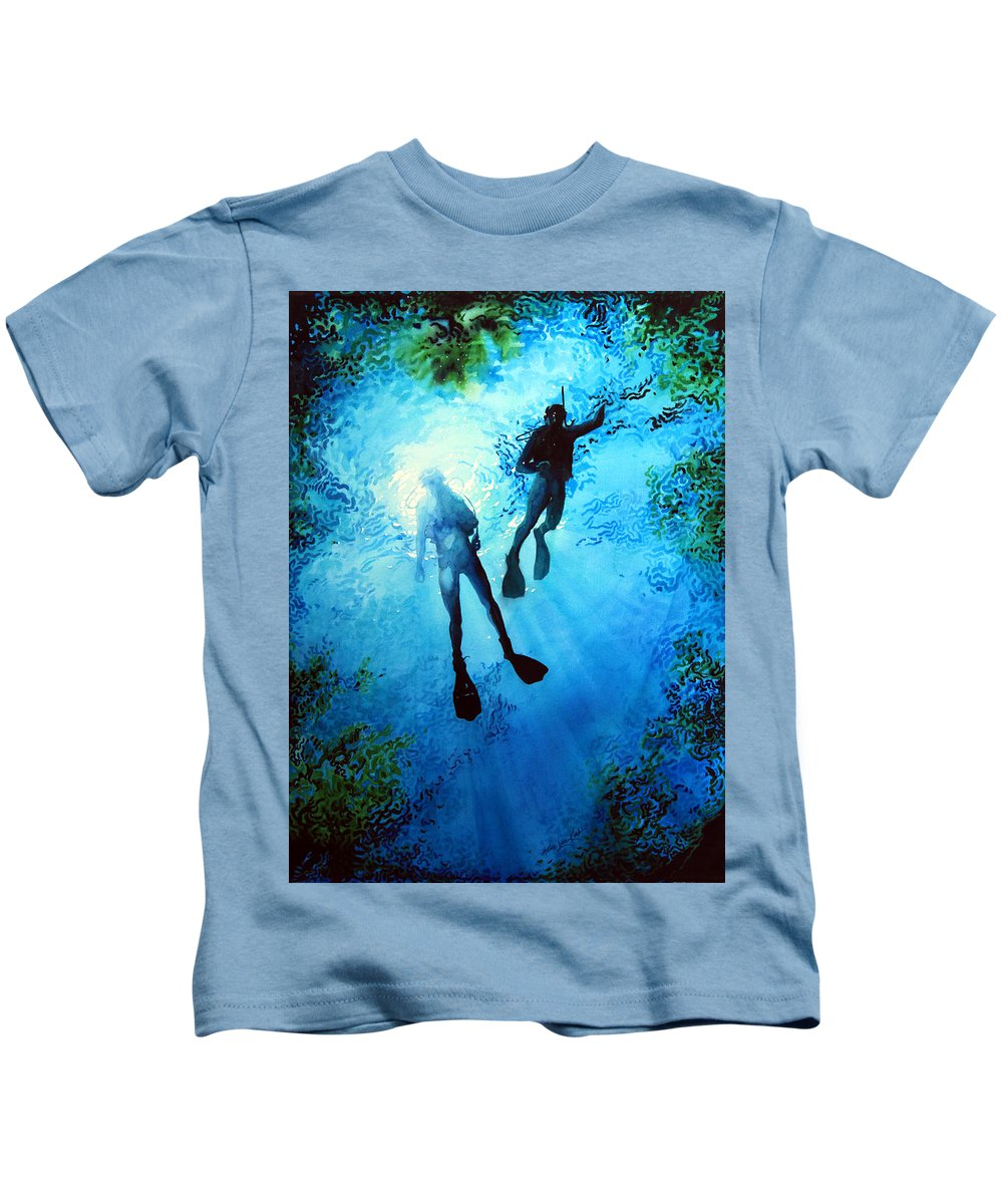 Sports Artist Kids T-Shirt featuring the painting Exploring New Worlds by Hanne Lore Koehler