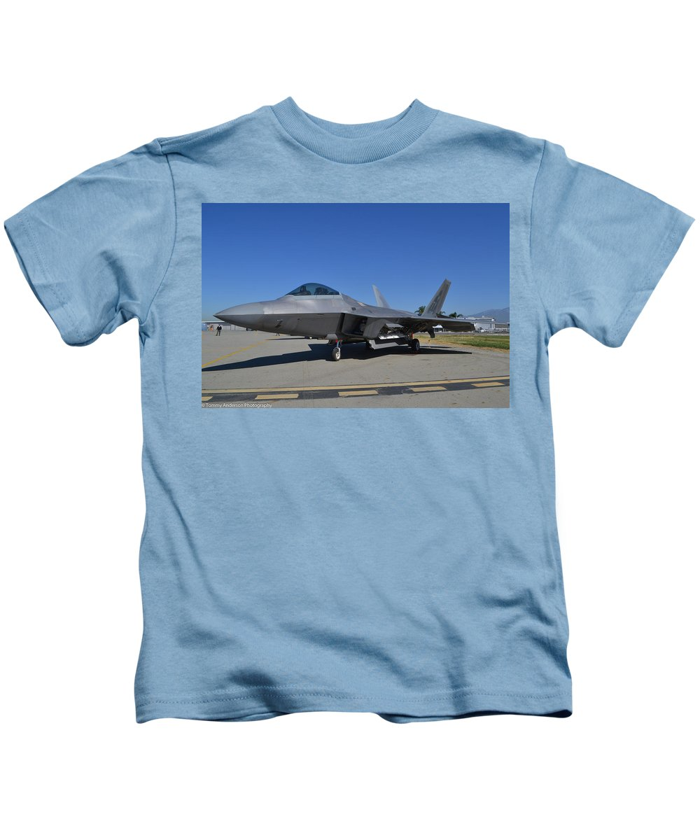 Lockheed Martin F-22 Raptor Kids T-Shirt featuring the photograph F-22 Raptor 2 by Tommy Anderson