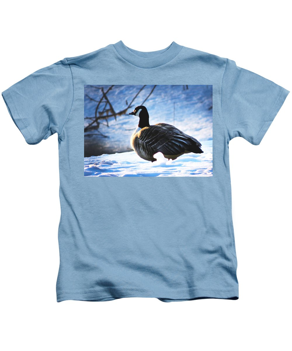Goose Kids T-Shirt featuring the photograph Facing The Cold Dawn by Craig Bohnert