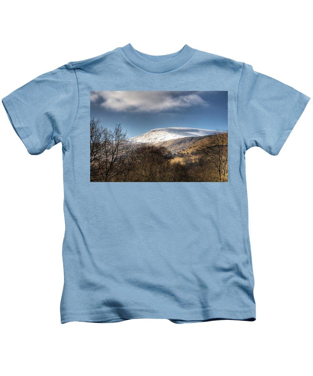 Fan Fawr Mountain Kids T-Shirt featuring the photograph Fan Fawr Brecon Beacons 3 by Steve Purnell