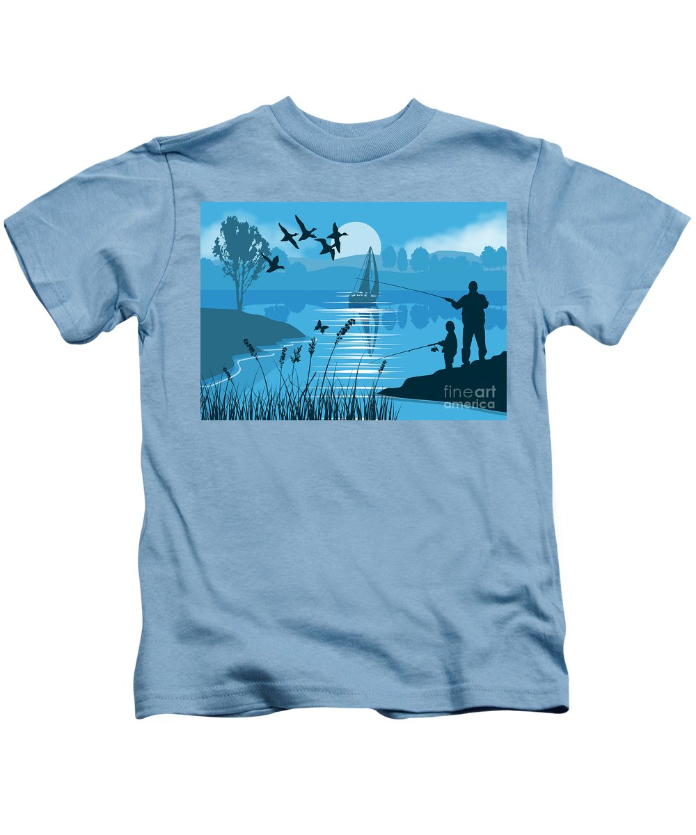 Landscape Kids T-Shirt featuring the painting Father And Son Fishing by Tim Gilliland