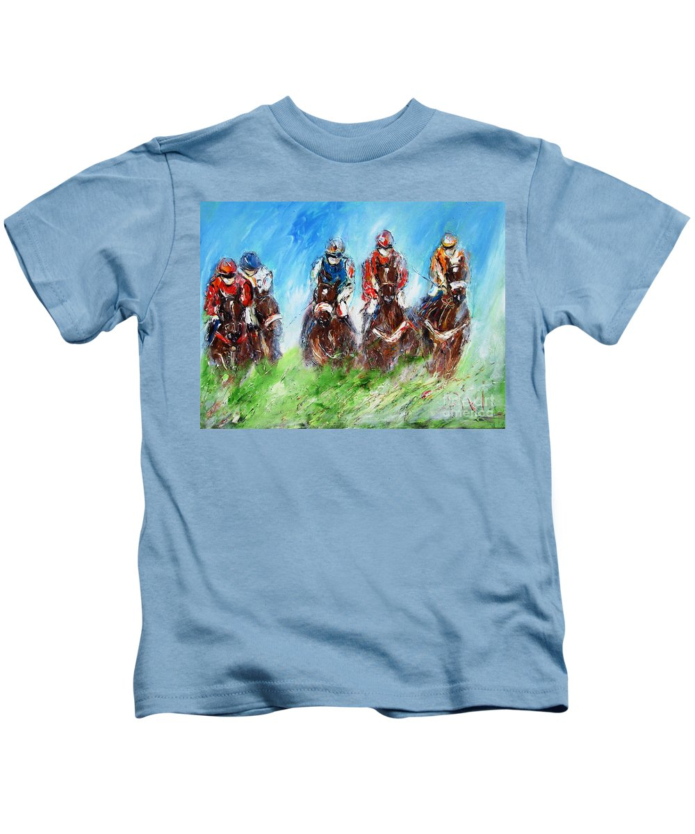 Horse Racing Kids T-Shirt featuring the painting Final Fence Painting by Mary Cahalan Lee- aka PIXI