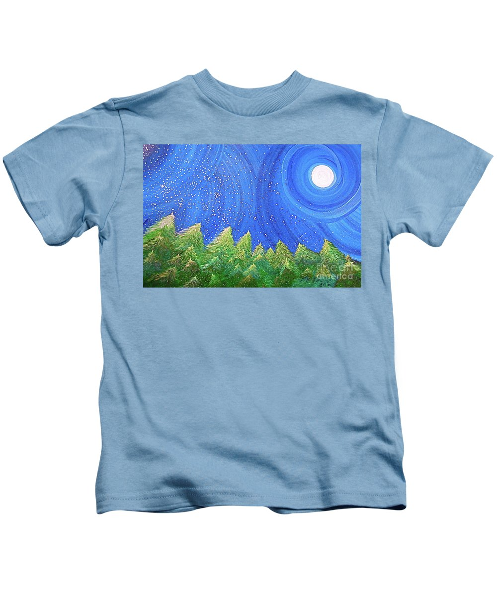 Snow Kids T-Shirt featuring the painting First Snow By Jrr by First Star Art