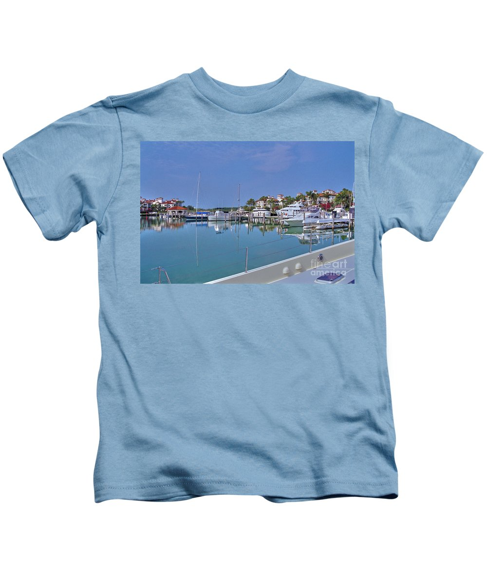Fisher Island Marina Reflections Miami Fl. Kids T-Shirt featuring the photograph Fisher Island Marina Reflections Miami Fl 2 by David Zanzinger
