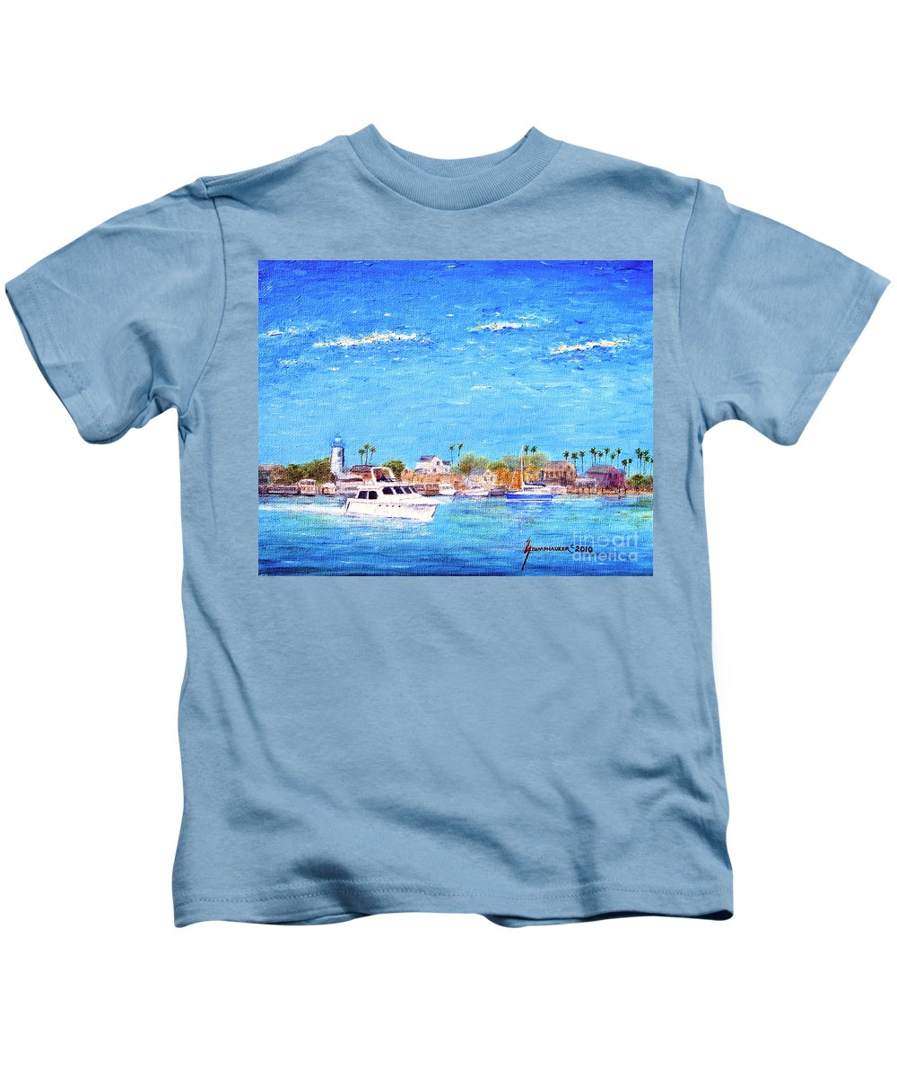 Boat Kids T-Shirt featuring the painting Fisherman's Village by Jerome Stumphauzer