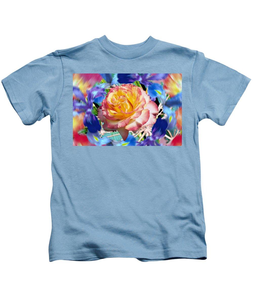 Flowers Kids T-Shirt featuring the digital art Flower Dance 2 by Lisa Yount