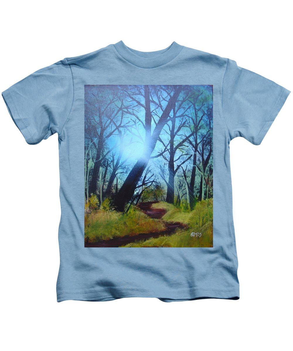 Painting Kids T-Shirt featuring the painting Forest Sunlight by Charles and Melisa Morrison