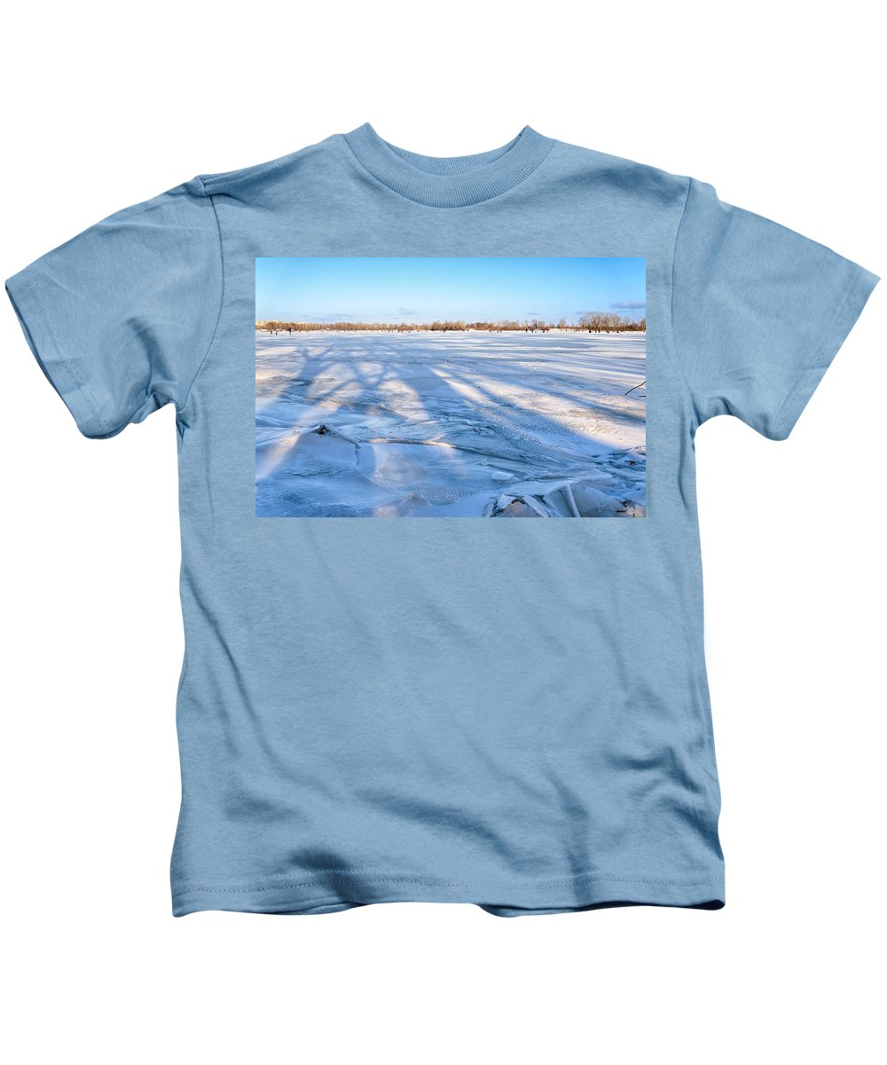 Dnieper Kids T-Shirt featuring the photograph Fractured Ice On The River by Alain De Maximy