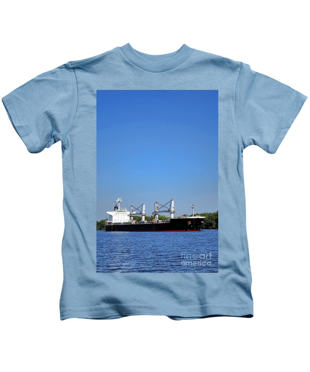 Seafaring Kids T-Shirt featuring the photograph Freighter On River by Olivier Le Queinec