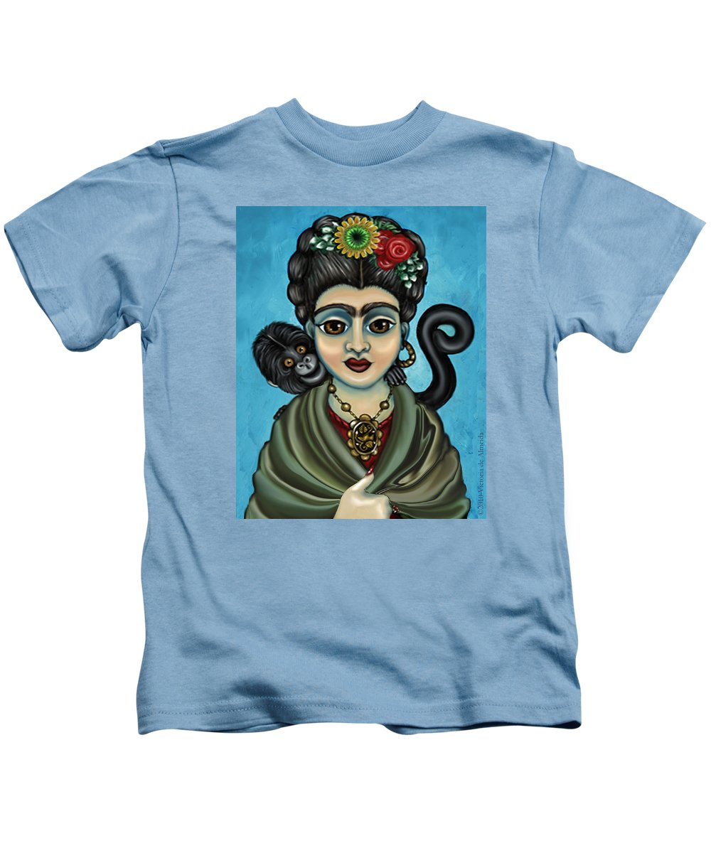Frida Kids T-Shirt featuring the painting Frida's Monkey by Victoria De Almeida
