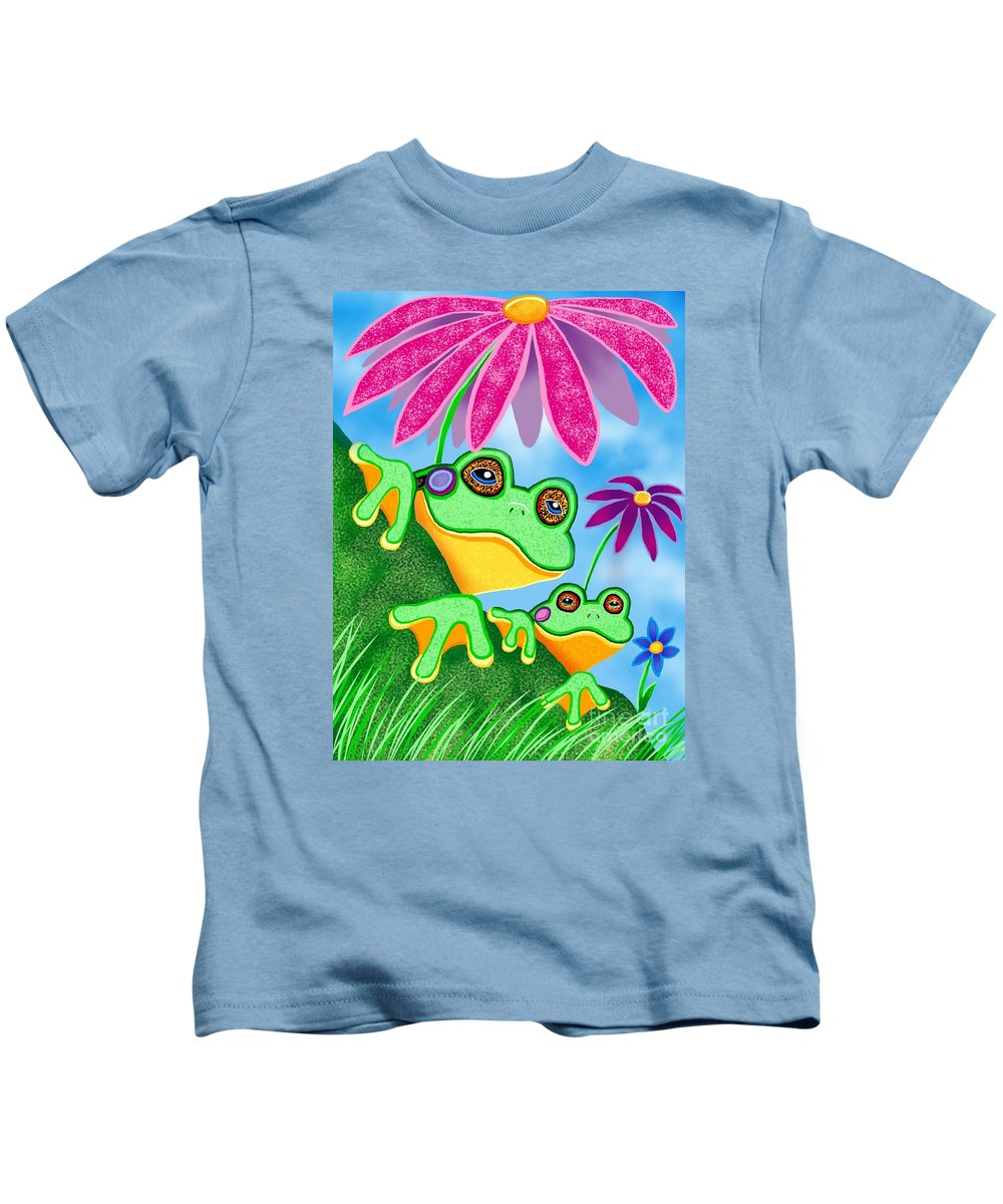 Frog Art Kids T-Shirt featuring the digital art Froggies And Flowers by Nick Gustafson