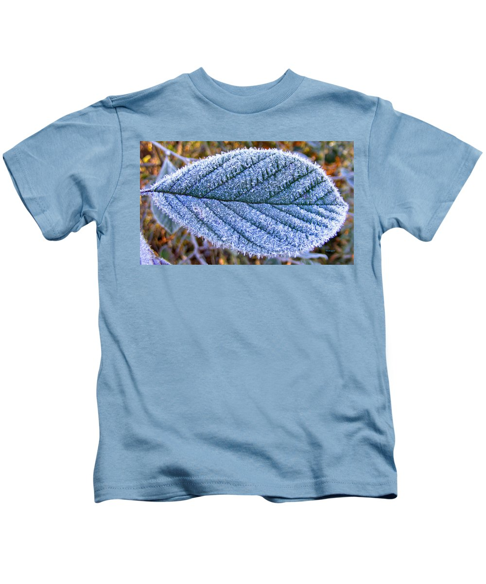 Plants Kids T-Shirt featuring the photograph Frosty Leaf by Duane McCullough