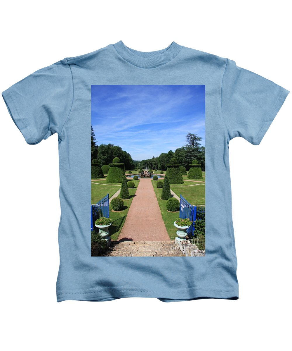 Path Kids T-Shirt featuring the photograph Gardenpath With Blue Gates - Burgundy by Christiane Schulze Art And Photography