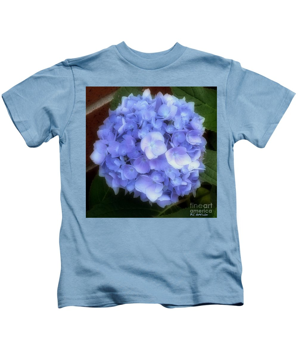 Hydrangea Kids T-Shirt featuring the photograph Gauzy Blues by RC DeWinter