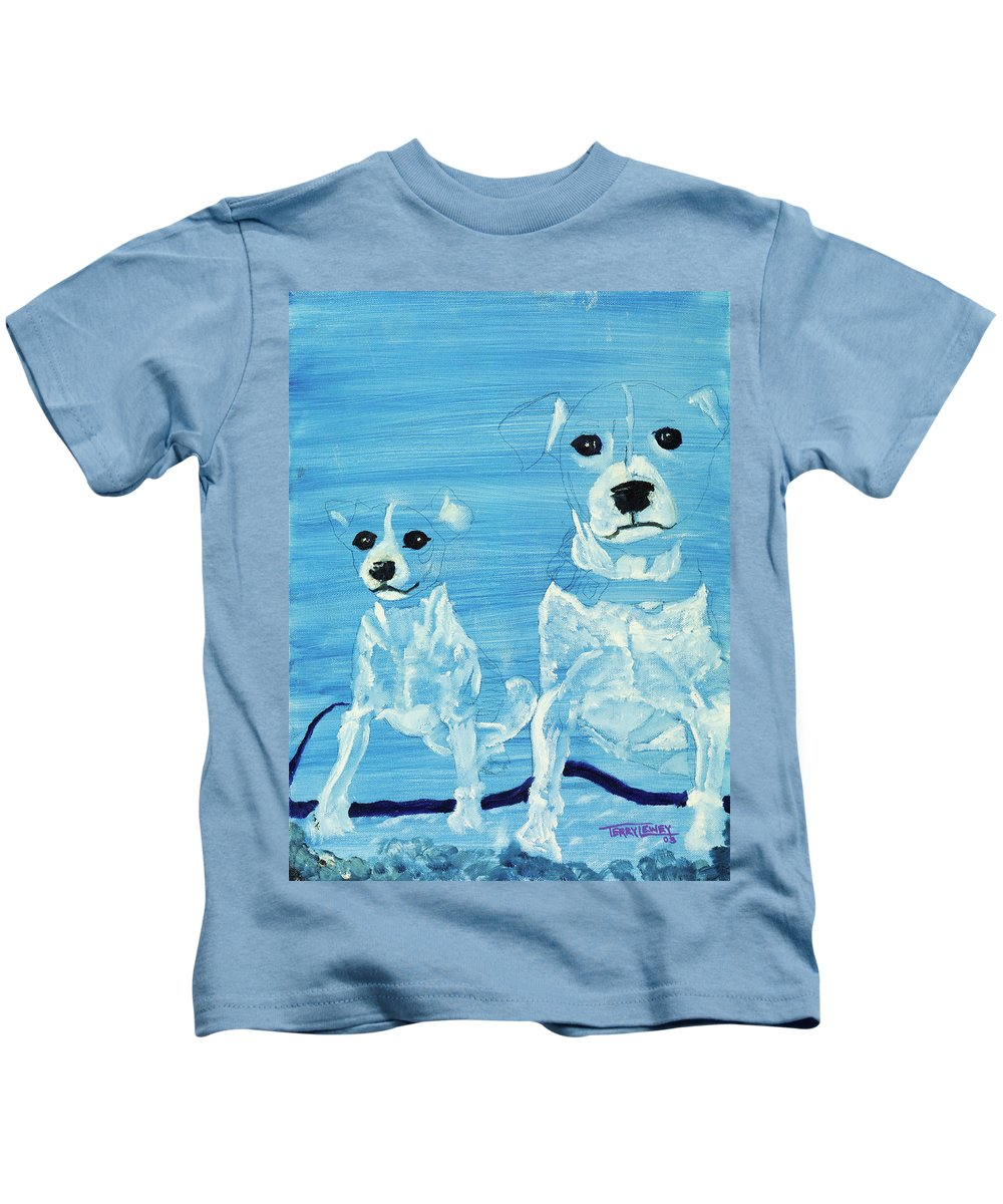 Dogs Kids T-Shirt featuring the painting Ghost Dogs by Terry Lewey