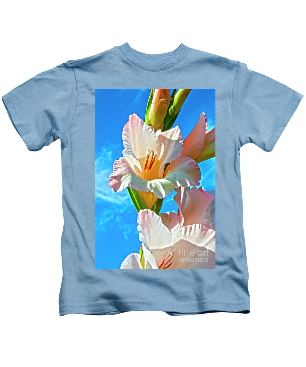 Gladiolus Kids T-Shirt featuring the photograph Gladiolus by Heiko Koehrer-Wagner