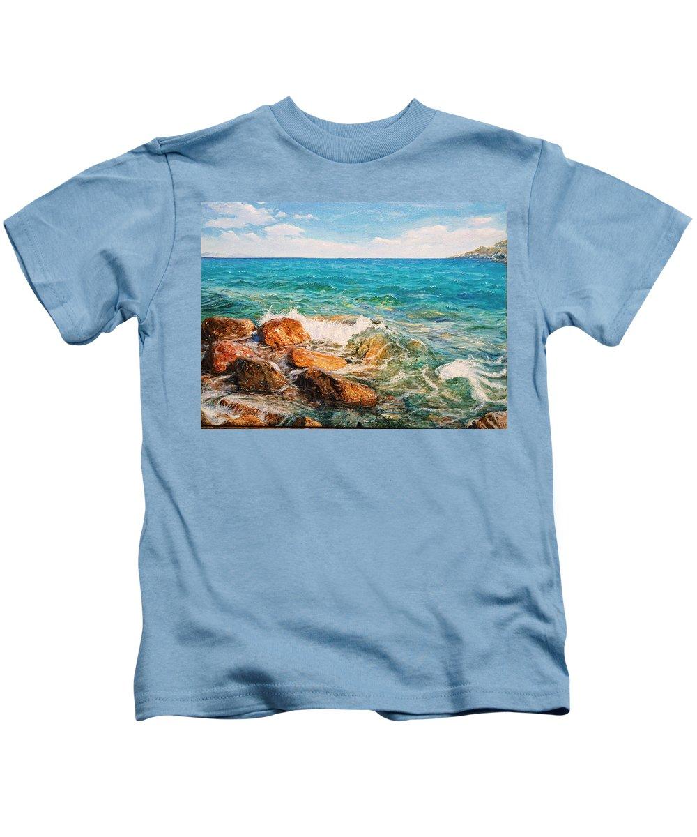 Seascape Kids T-Shirt featuring the painting Glifada 2 by Sefedin Stafa