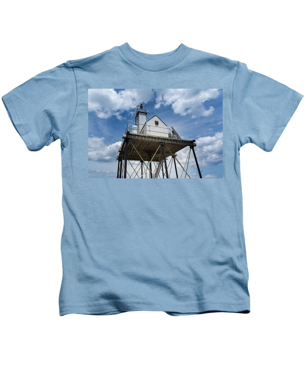 Gloucester Kids T-Shirt featuring the photograph Gloucester Harbor Beacon Station by John M Bailey