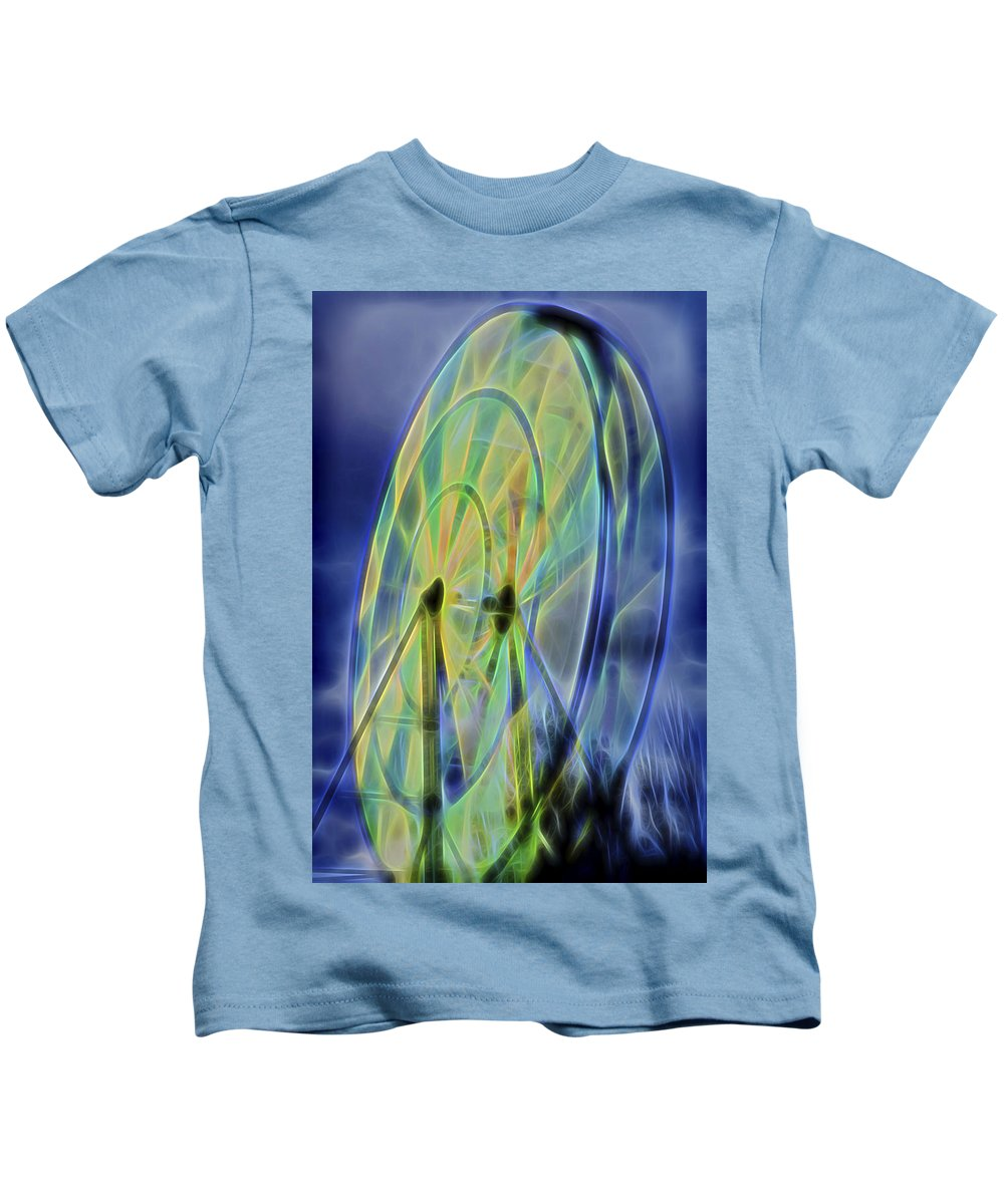 Glowing Wheel Kids T-Shirt featuring the photograph Glowing Wheel by Kelley King