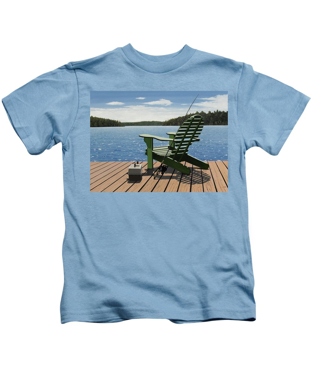 Landscapes Kids T-Shirt featuring the painting Gone Fishing Aka Fishing Chair by Kenneth M Kirsch