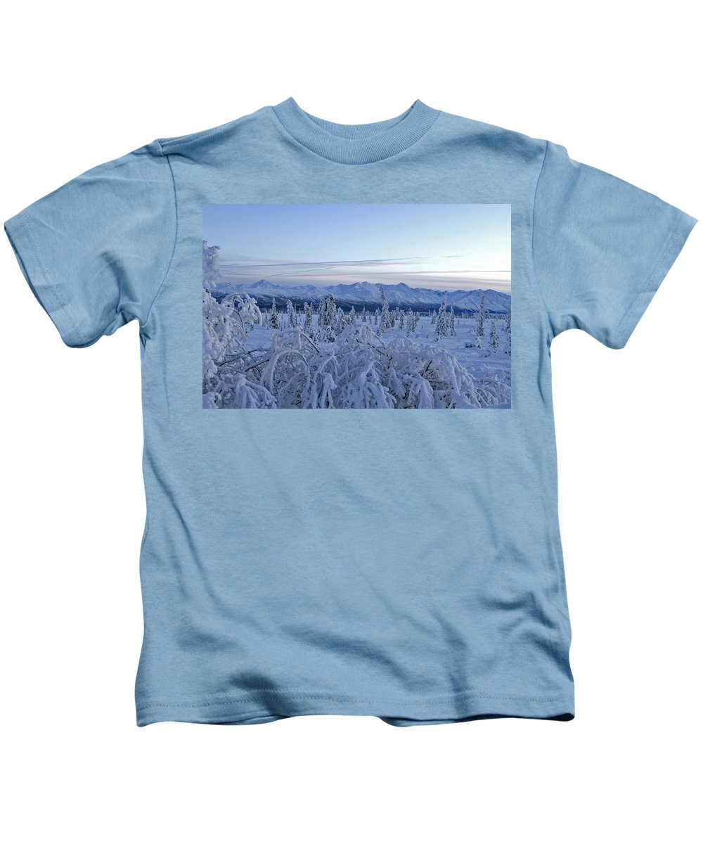 Landscapes Kids T-Shirt featuring the photograph Goodnight Chugach by Jeremy Rhoades