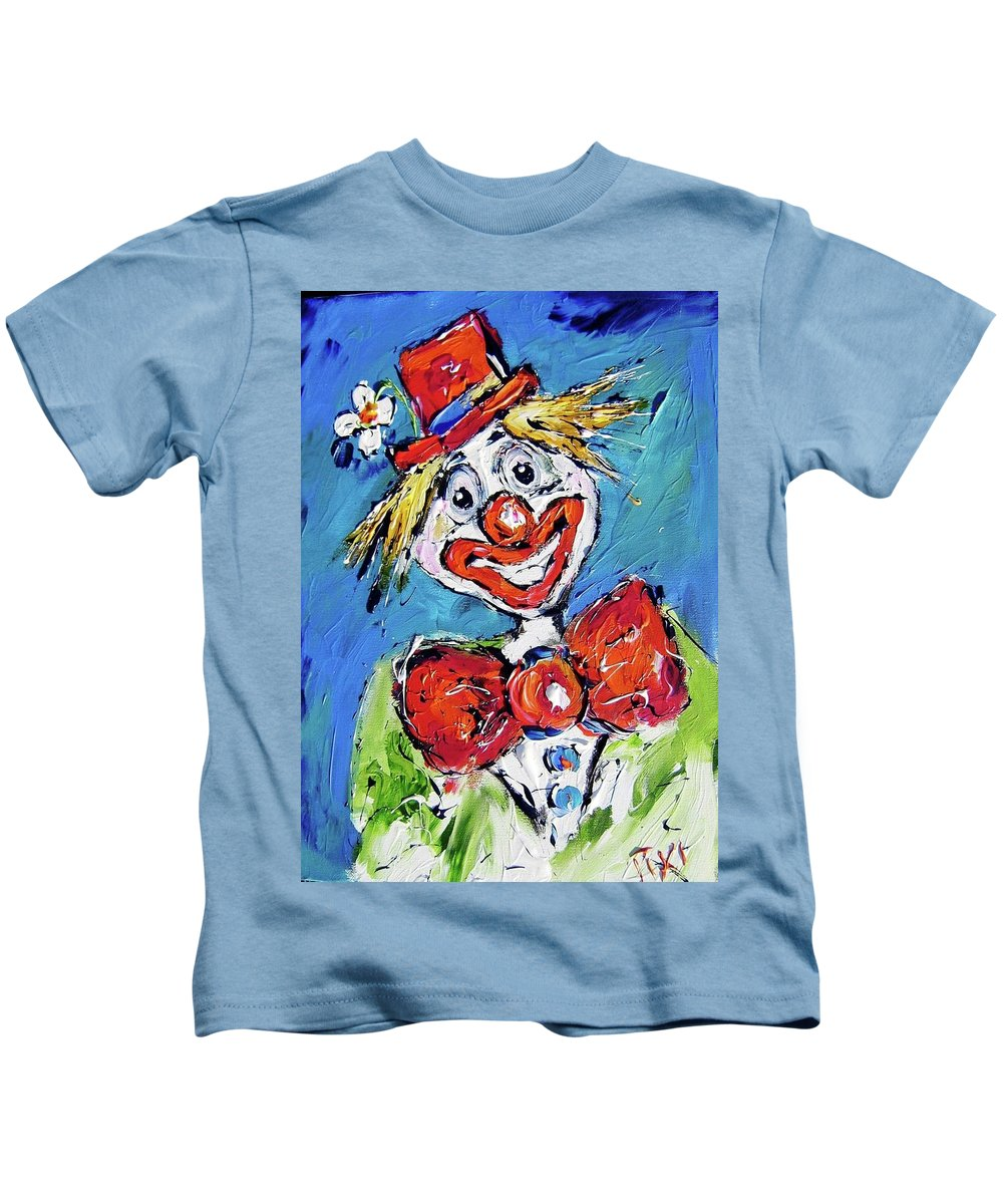 Clown Kids T-Shirt featuring the painting Happy Clown-ideal For Childrens Nurserys by Mary Cahalan Lee- aka PIXI