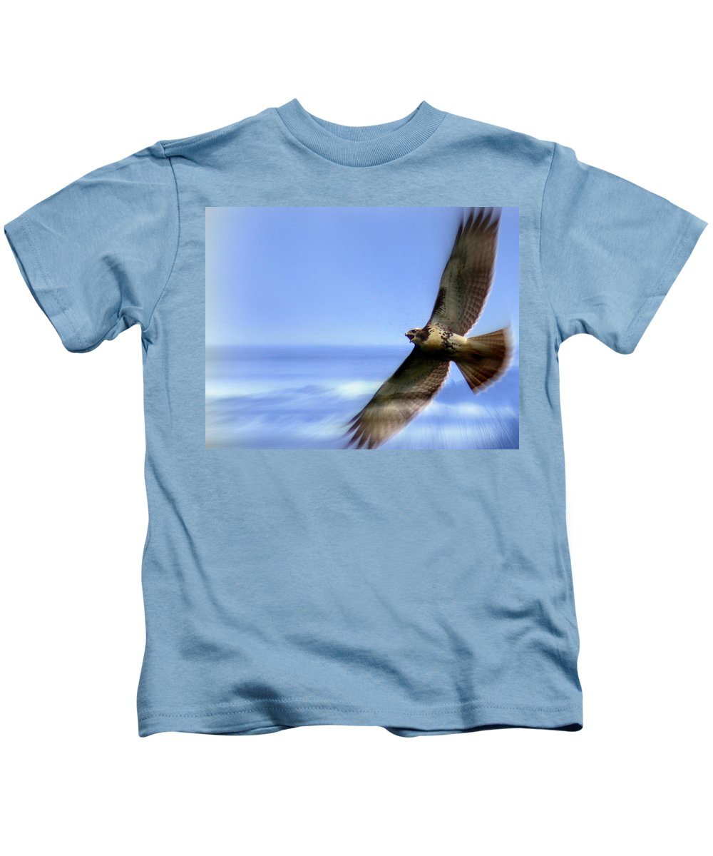 Hawk Kids T-Shirt featuring the photograph Hawk - Screams Of The Ocean by Travis Truelove