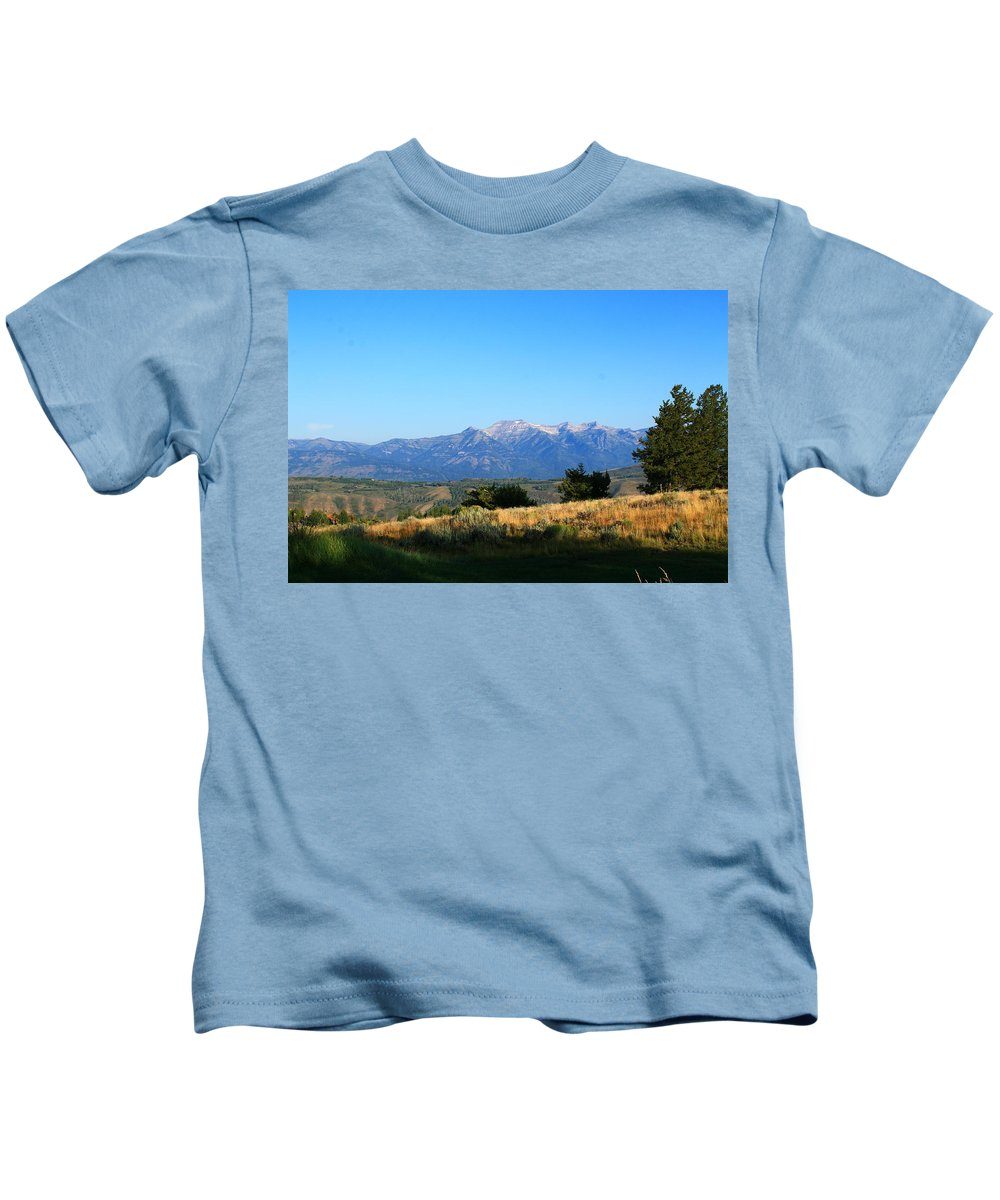 Grand Teton Mountains Kids T-Shirt featuring the photograph Hello Tetons by Catie Canetti