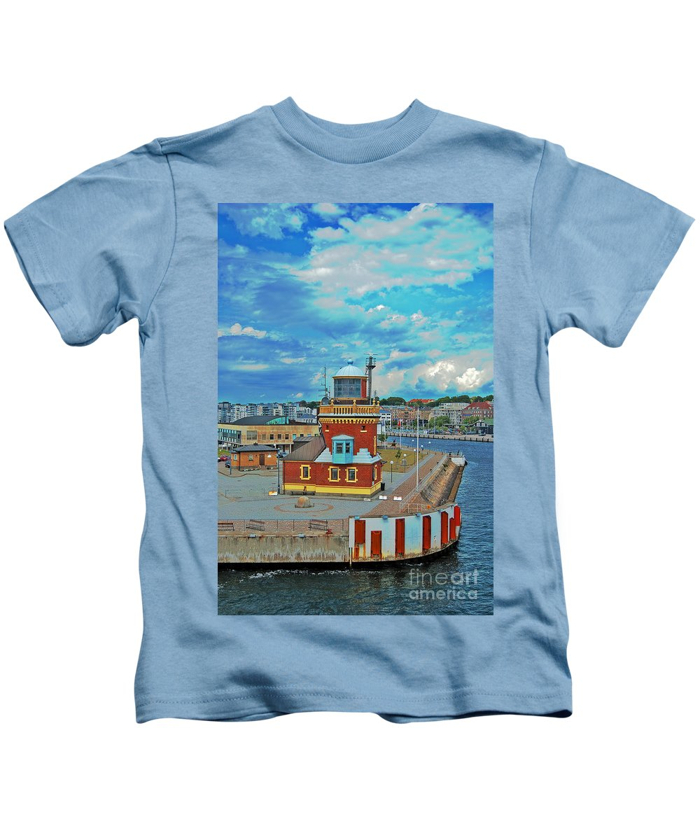 Lighthouse Kids T-Shirt featuring the photograph Helsingborg Lighthouse Hdr by Antony McAulay