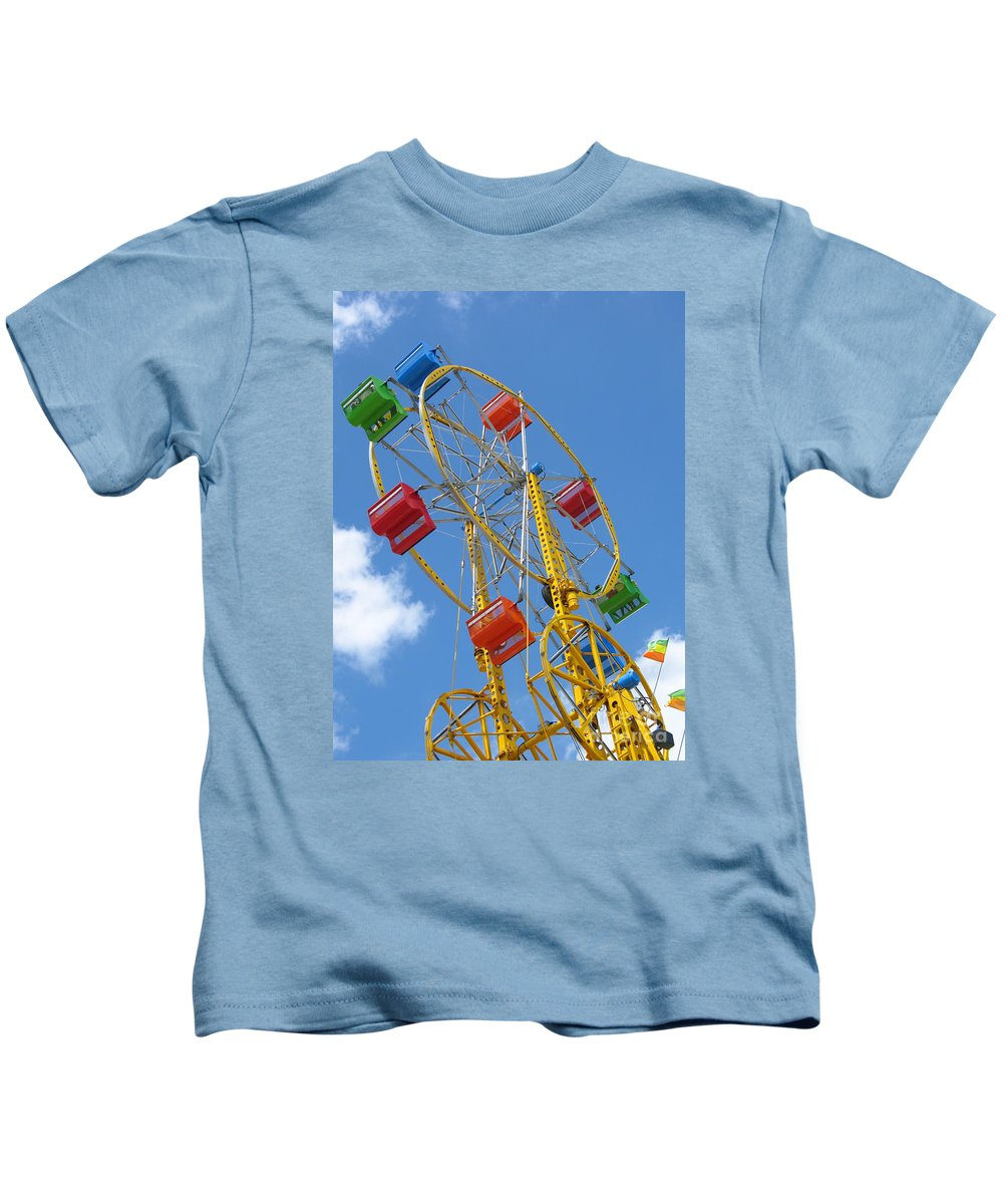 Carnival Kids T-Shirt featuring the photograph High Wheeling by Ann Horn