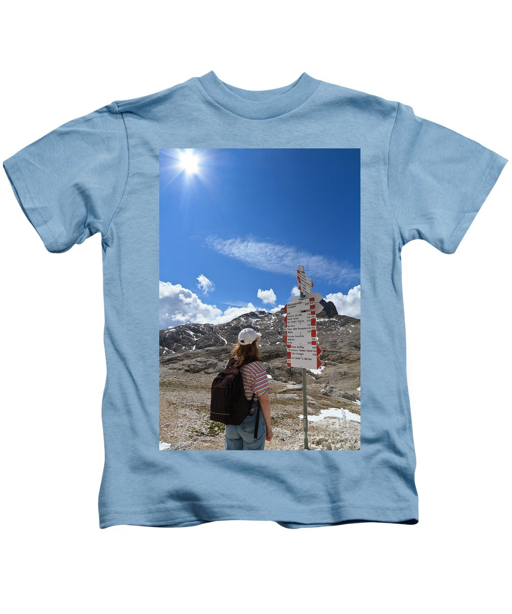 Alpine Kids T-Shirt featuring the photograph Hiker Find The Way by Antonio Scarpi