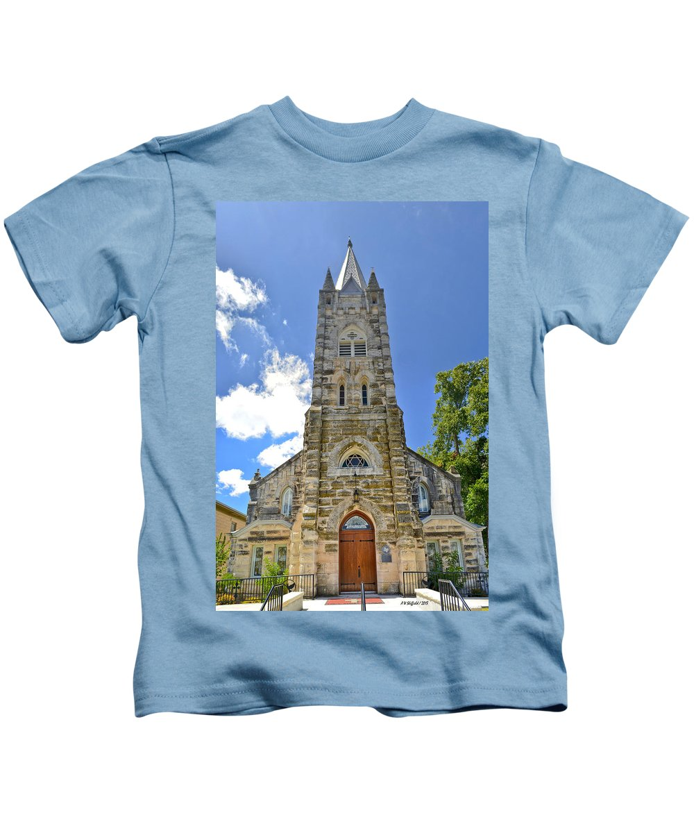 Fredericksburg Kids T-Shirt featuring the photograph Holy Ghost Lutheran Church by Allen Sheffield