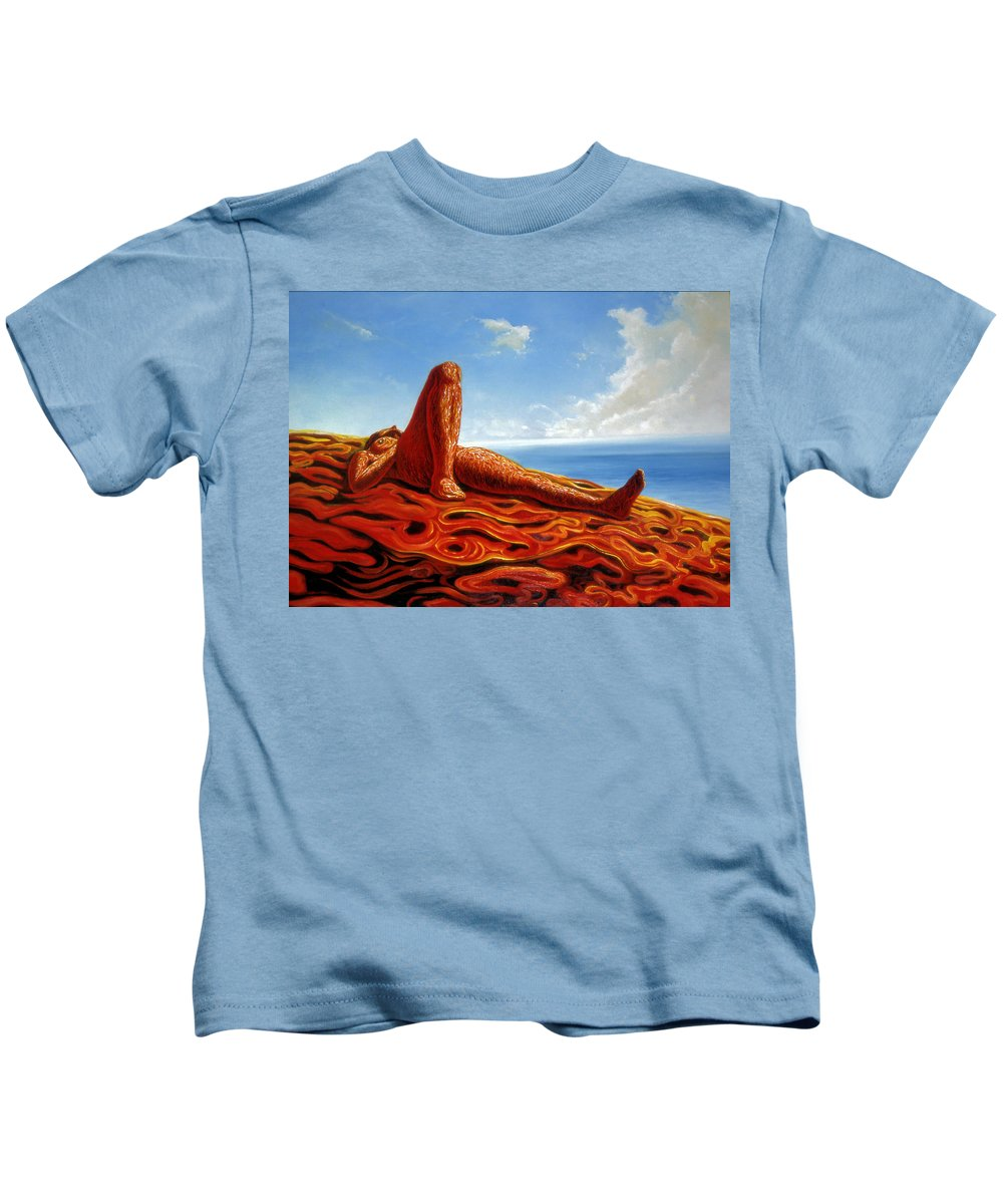 Genio Kids T-Shirt featuring the painting Hot As The Sun by Genio GgXpress