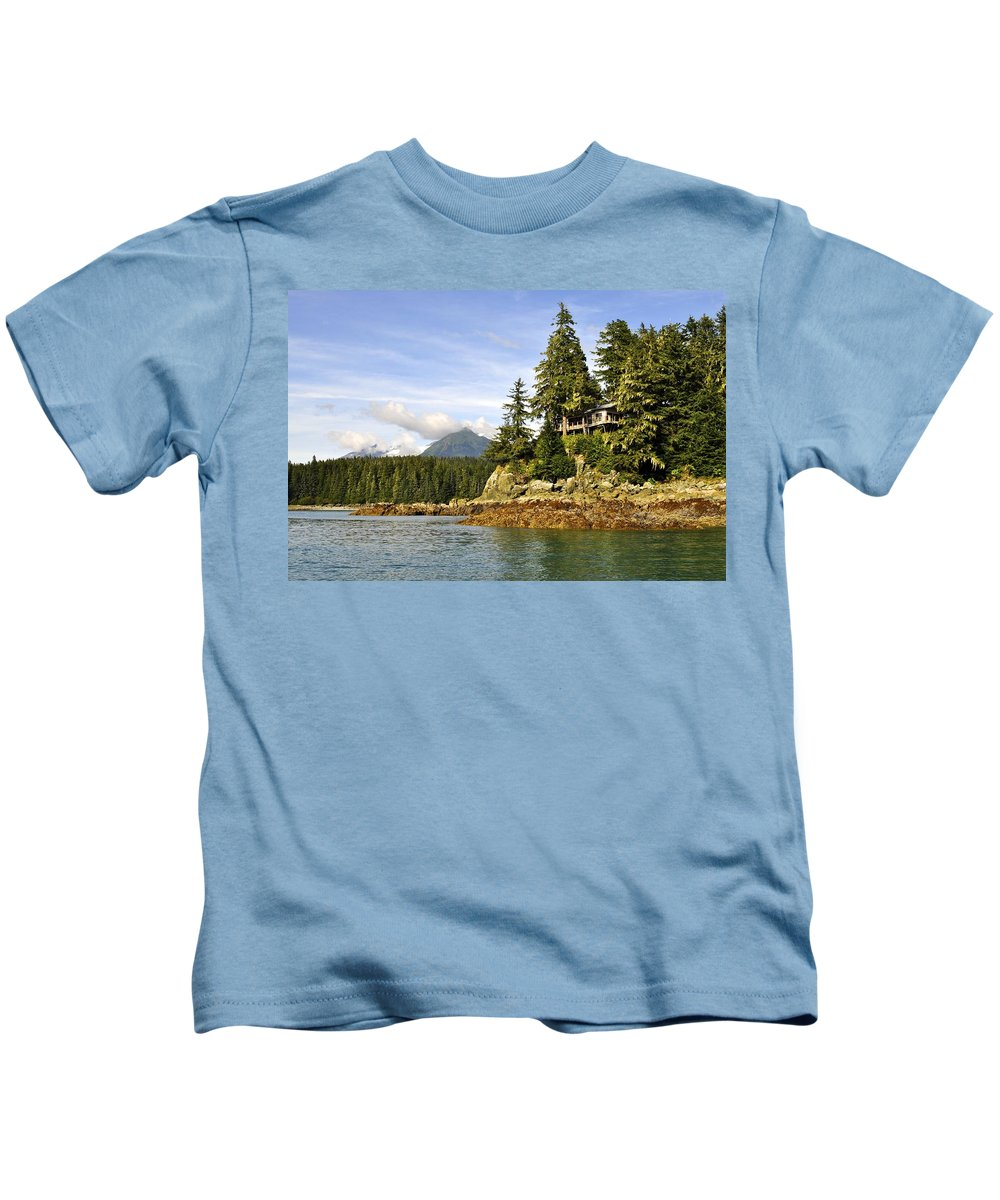 Landscape Kids T-Shirt featuring the photograph House Upon A Rock by Cathy Mahnke